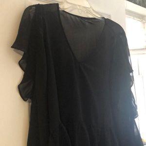 Halogen black sheer top with open shoulders